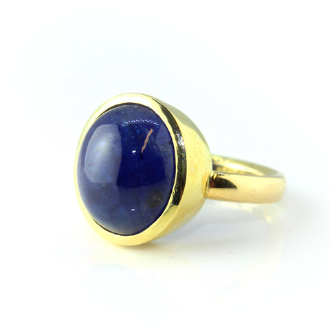 Friederike Grace Cabochon Blue Sapphire Yellow Gold Ring