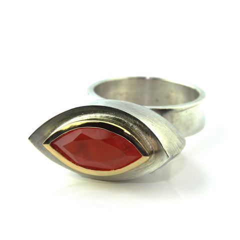 Friederike Grace Carnelian Navette Shaped Silver Ring