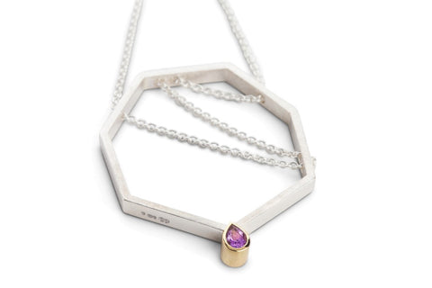 Friederike Grace 'Moontime' Amethyst Gold Silver Necklace