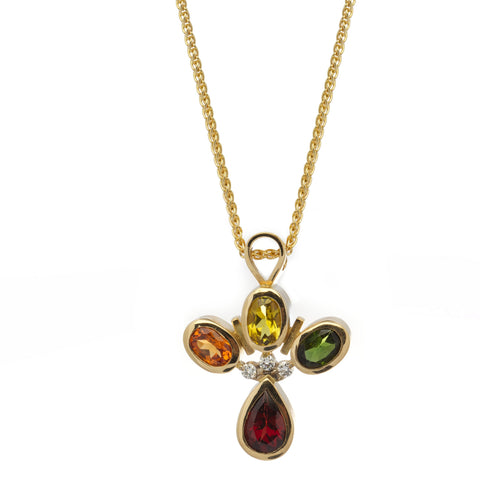 Friederike Grace Red & Orange Garnet 18ct Yellow Gold Necklace