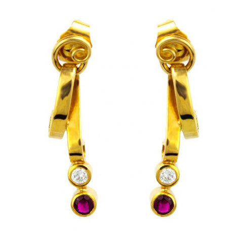 Friederike Grace Ruby Drop Yellow Gold Diamond Earrings