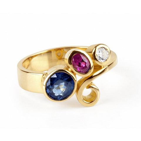 Friederike Grace Sapphire and Ruby Yellow Gold Ring
