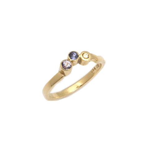 Friederike Grace 18ct Yellow Gold Spinel, Tanzanite and Canary Diamond Ring
