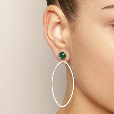 Heather O'Connor Cadence Green Agate Silver Earrings