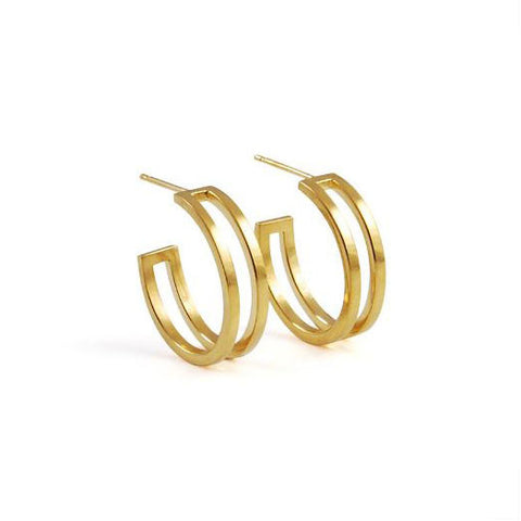 Heather O'Connor Cadence Mini Parallel Gold Plated Hoop Silver Earrings