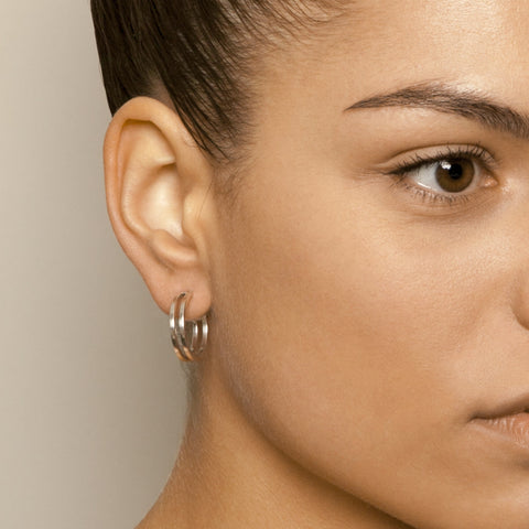 Heather O'Connor Cadence Mini Parallel Hoop Silver Earrings