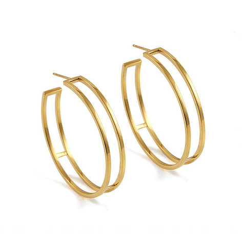 Heather O'Connor Cadence Parallel Gold Plated Hoop Silver Earrings