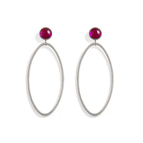 Heather O'Connor Cadence Pink Ruby Silver Earrings
