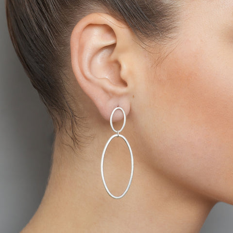 Heather O Connor Double Hoop Drop Silver Earrings