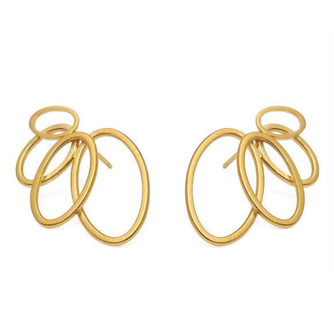 Heather O'Connor Four Oval Gold Plated Silver Earrings
