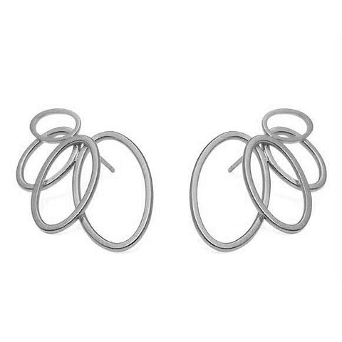 Heather O'Connor Four Oval Graduating Cadence Silver Earrings