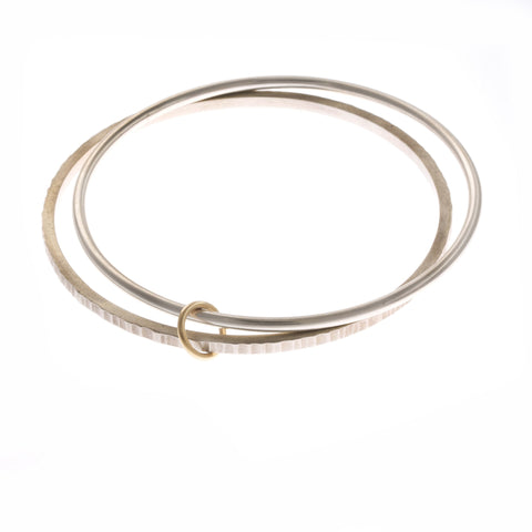 Plain Line Hammer Finish Bangle 9ct Yellow Gold Silver Bracelet