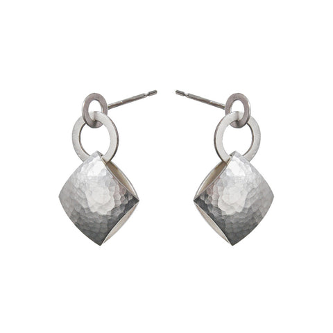 Heather O Connor Small Pillow Drop Smooth Textured Silver Earrings