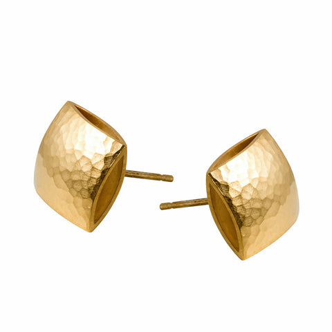 Heather O Connor Small Pillow Textured Gold Plated Silver Earrings