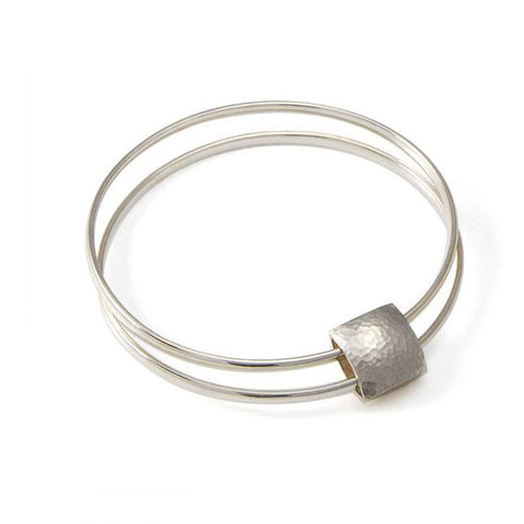 Heather O'Connor Small Pillow Textured Smooth Two Round Band Silver Bracelet