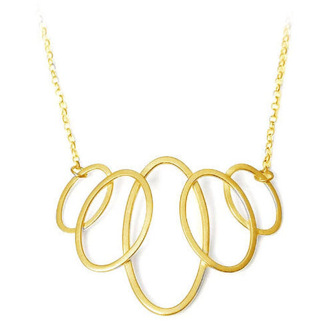 Heather O'Connor Medium Graduating Cadence 5 Oval Gold Plated Silver Necklace