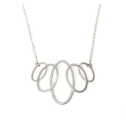 Heather O'Connor Small 5 Oval Graduating Belcher Chain Silver Necklace