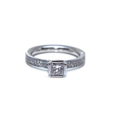 Henrich &  Denzel 'Lily' Solitaire Princess Cut Diamond Channel Platinum Ring