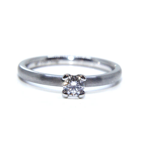 Henrich And Denzel Platinum Matte Solitaire Round Brilliant Diamond Ring