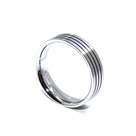 Henrich & Denzel Matt Polished 4 Edge Platinum Ring
