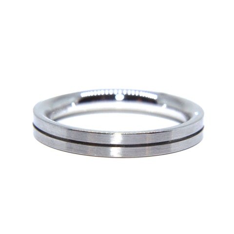 Henrich & Denzel Matte Polished With Caved Line Platinum Ring