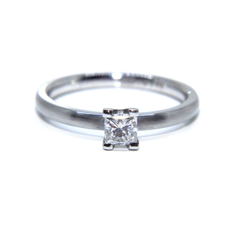 Henrich & Denzel Platinum Claw Solitaire Princess Cut Diamond Ring