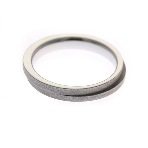 Henrich & Denzel Scratch Matt Band Platinum Ring