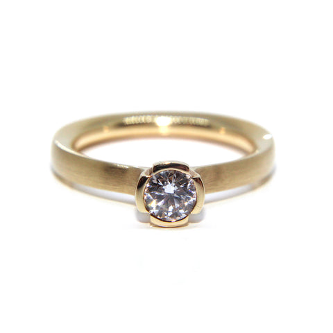 Henrich & Denzel Solitaire 18ct Rose Gold Matte Polished Diamond Ring