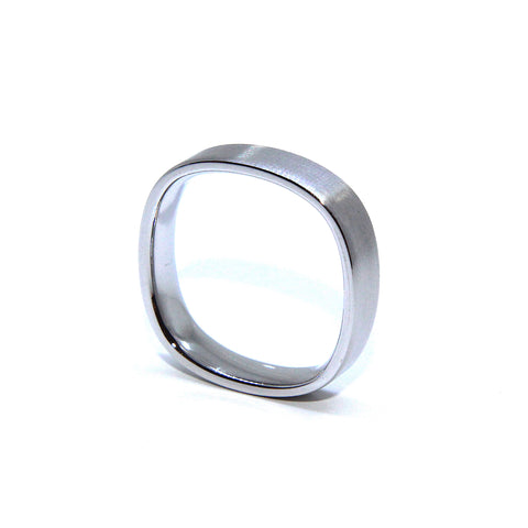 Henrich & Denzel Wedding Band Square Silk Matte Polished Finish Platinum Ring