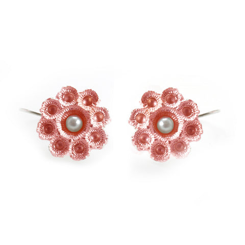 Hester Zagt Barely Pink Porcelain Pearl Silver Earrings