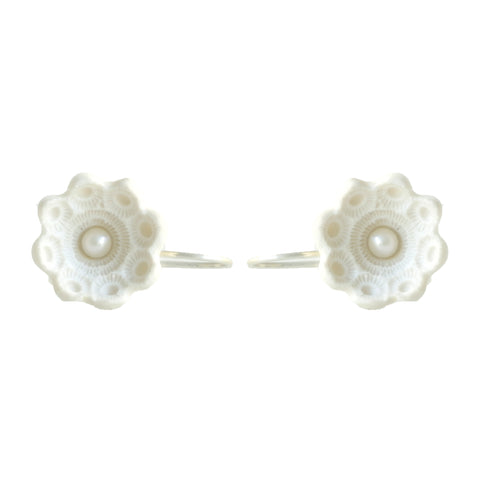 Hester Zagt Barley White Porcelain Drop Pearl Silver Earrings