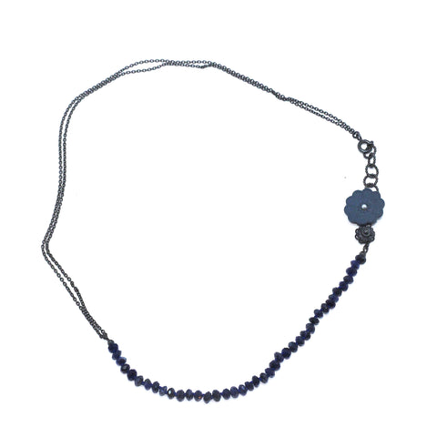 Hester Zagt 'Bloom' Sodalite Pearl And Porcelain Silver Necklace