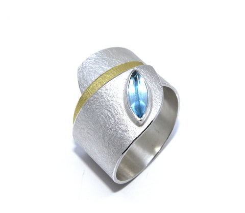 Manu 22ct Yellow Gold Bi-Metal Textured Wrap Blue Topaz Silver Ring