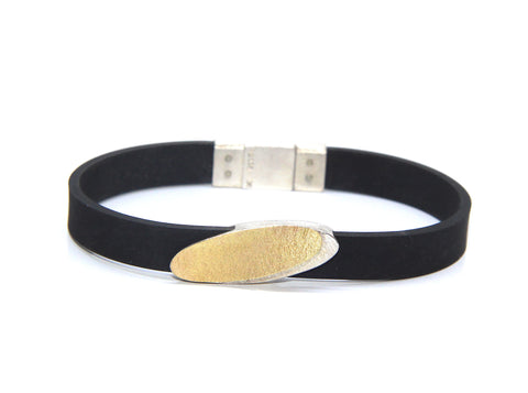 Manu Magnetic Clasp Natural Black Rubber 22ct Yellow Gold Bi-Metal Oval Silver Bracelet