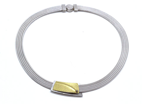 Manu Mesh 22ct Yellow Gold Bi Metal 'Overlap' Diamond Silver Necklace