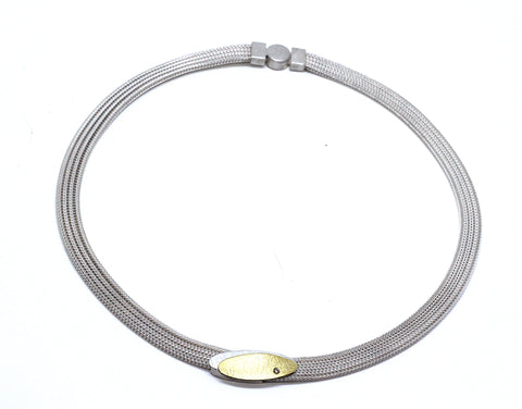 Manu Mesh Oval Disc 22ct Yellow Gold Bi-Metal Textured Diamond Silver Necklace
