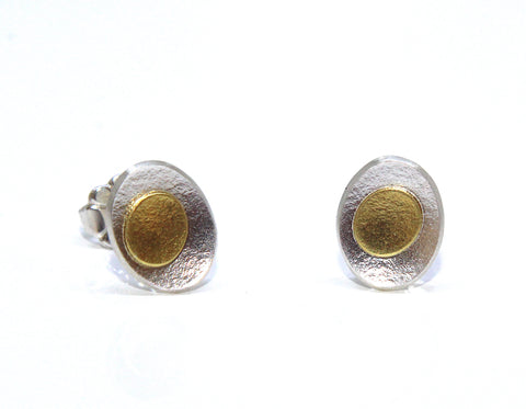 Inga Reed Small 'Pebble' Stud Silver Earrings