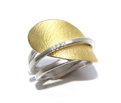 Manu Lotus Petal Diamond Sterling Silver 22ct Yellow Gold Bi-Metal Ring