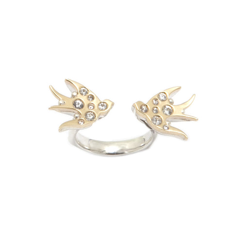 Ella Green Swallows Silver and White Sapphires 9ct Yellow Gold Ring