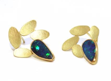 Catherine Mannheim Boulder Opals 18ct Yellow Gold Studs Earrings