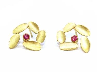 Catherine Mannheim Pink Tourmaline 18ct Yellow Gold Spiral Leaf Earrings