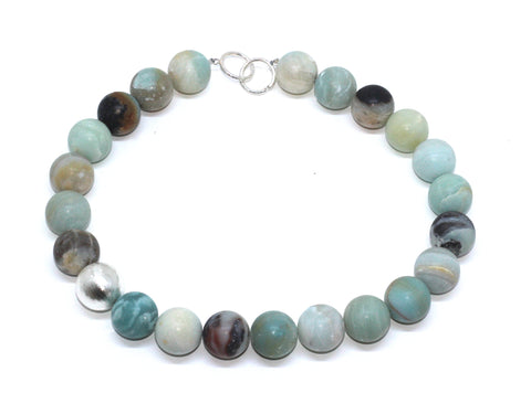Inga Reed Amazonite 18 mm Beads And Embossed Silver Necklace