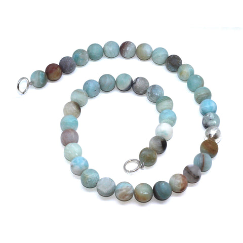 "Inga Reed Amazonite Beads And Embossed 28"" Long Silver Necklace"