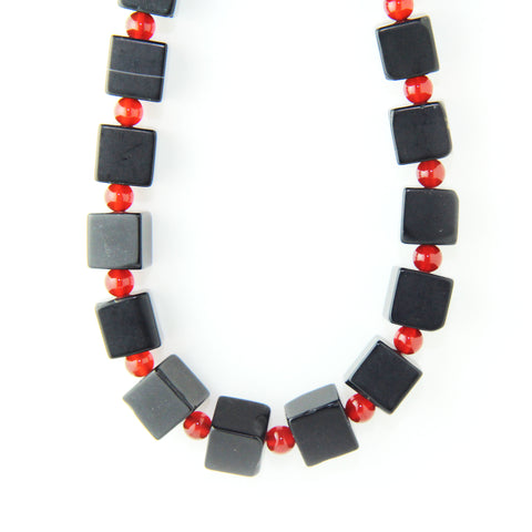 Inga Reed Cube Onyx And Carnelian Bead With Silver Catch Necklace