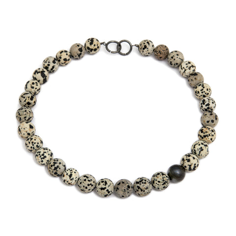 Inga Reed 16mm Dia Dalmatian Jasper Bead Oxidised Silver Necklace