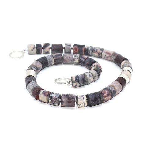 Inga Reed Porcelain Jasper And Tube Silver Necklace