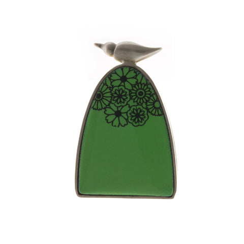 Jane Moore Bird On Hill Green Silver Brooch
