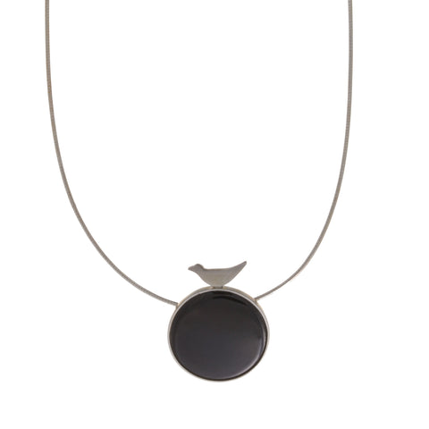 Jane Moore Black Circle And Bird Silver Necklace