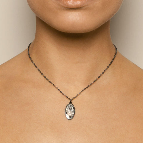 Jane Moore Black Oval Oxidized Silver Necklace