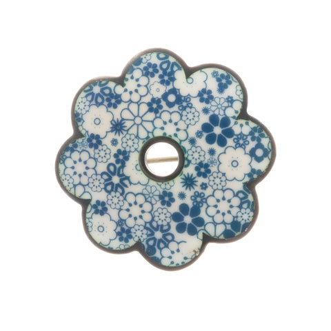 Jane Moore Blue Daisy Oxidized Silver Brooch